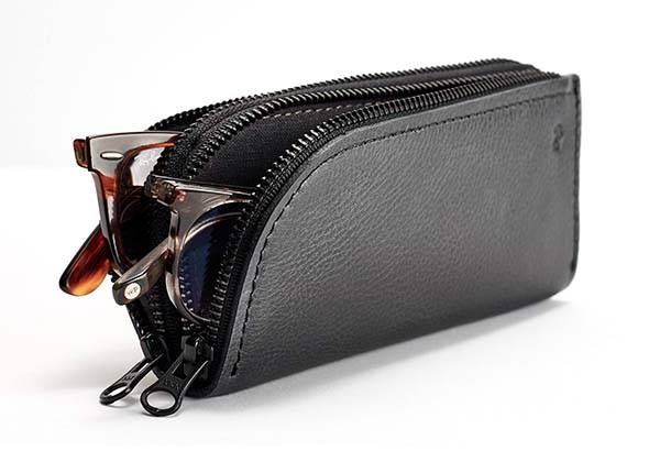 Handmade Customizable Leather Sunglasses Case with Two Compartments