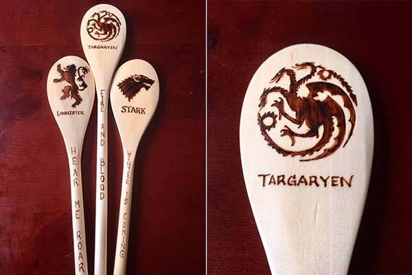 Handmade Game of Thrones Wood Burned Spoons