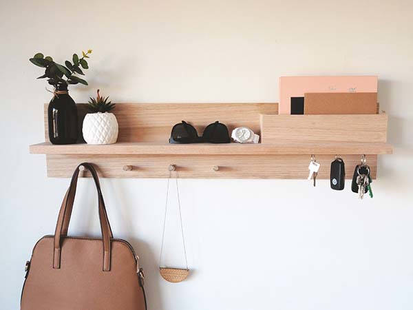 Handmade Wooden Entryway Shelf with Magnetic Key Holders