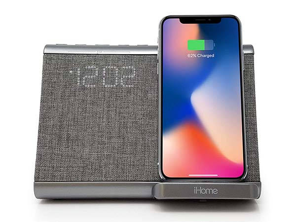 iHome iBTW39 Bluetooth Speaker with Dual Alarm Clock and Wireless Charging Pad