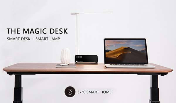 Magic Gesture-Controlled Standing Desk with LED Smart Lamp and Wireless Charging Pad