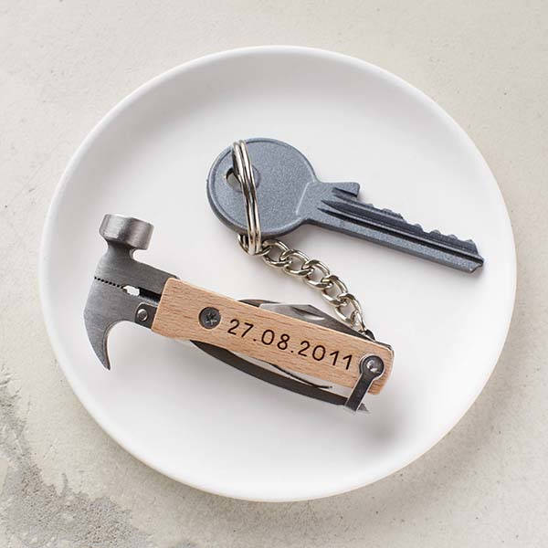 Personalized Anniversary Wooden Multi-Tool Keyring