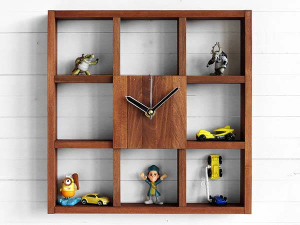 Raft Handmade Wooden Wall Clock with Integrated Storage Boxes