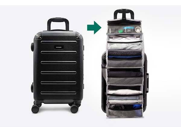 Carry-On Closet 2.0 Suitcase with Removable Shelving Unit