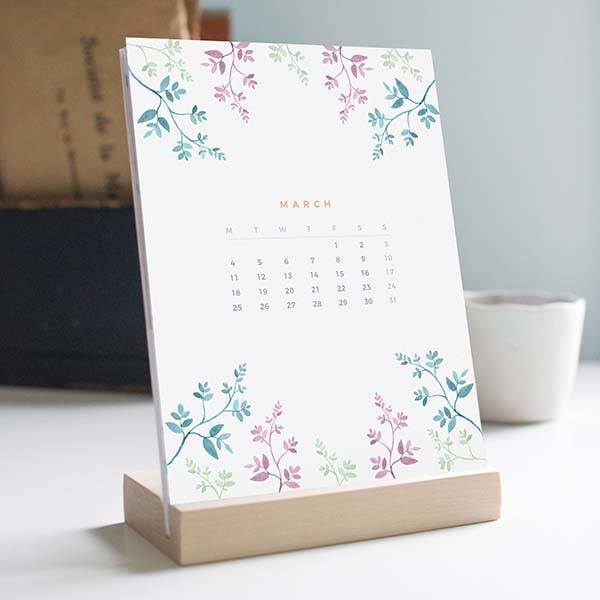 Handmade 2019 Desk Calendar with Wooden Stand