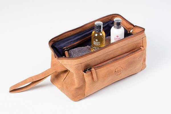 Handmade Leather Travel Wash Bag