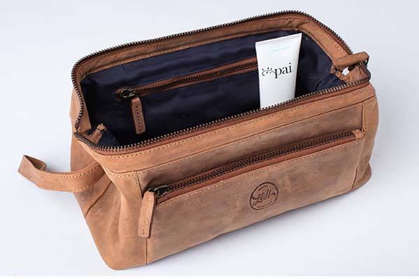 Handmade Leather Travel Wash Bag