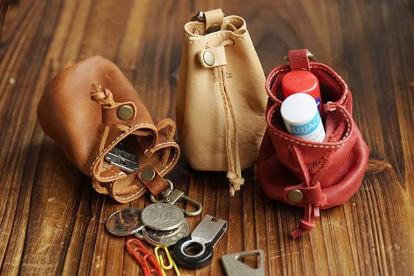 Handmade Mini Drawstring Leather Pouch