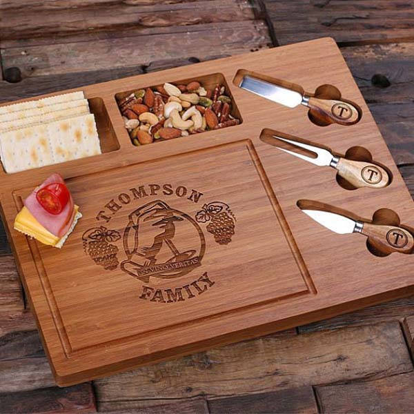 Handmade Personalized Bamboo Wood Cheese Serving Tray