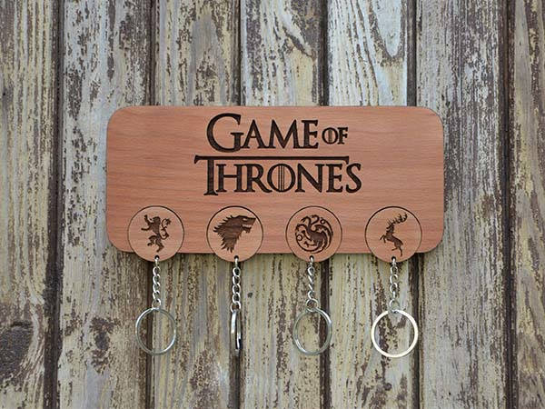 Handmade Personalized Game of Thrones Wall Mounted Key Holder and Keychains