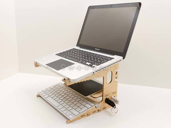 Handmade Wooden Laptop Stand with USB Drive and Cable Organizer