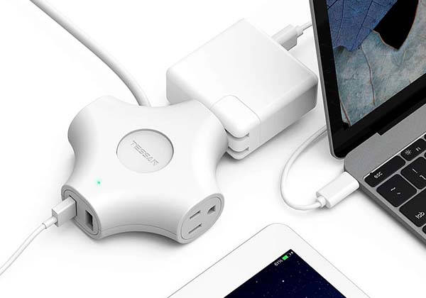 Tessan Portable Power Strip with Two USB Ports and 5ft Cord