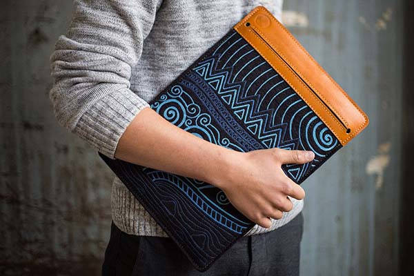 The Awesome Handmade Leather MacBook Sleeve with Sleek Design on the Side