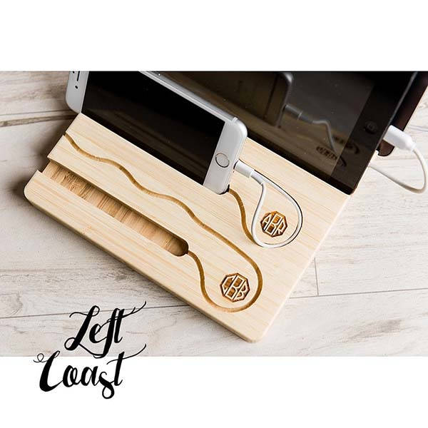 The Handmade Personalized Wooden Charging Dock with Cable Organizer