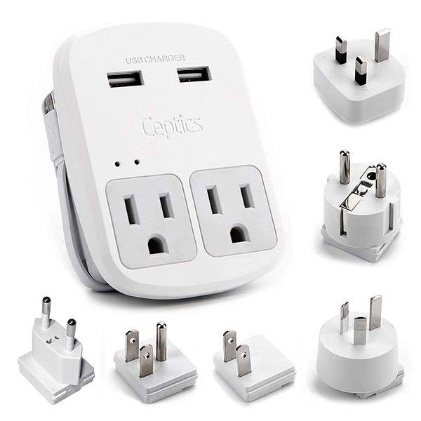 Ceptics World Travel Adapter with 2 Outlets and 2 USB Ports