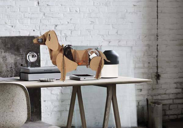 Handmade Dachshund Cardboard Desk Organizer