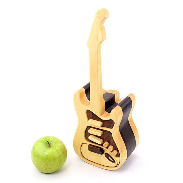 Handmade Electric Guitar Shaped Wooden Jewelry Box