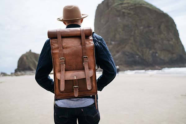 Handmade Leather Roll Top Backpack by Johnny Fly