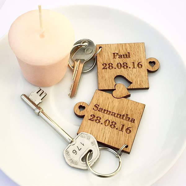 Handmade Personalized Puzzle-Style Wooden Keychain Set for Valentine's Day