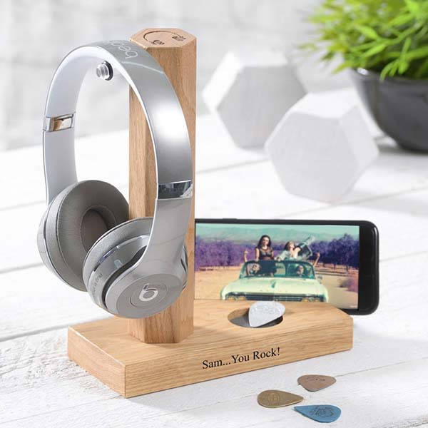 Handmade Personalized Wooden Headphone Stand with Phone Holder