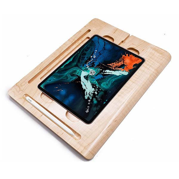 Handmade Personalized Wooden iPad Pro Artboard Base with Apple Pencil Holder