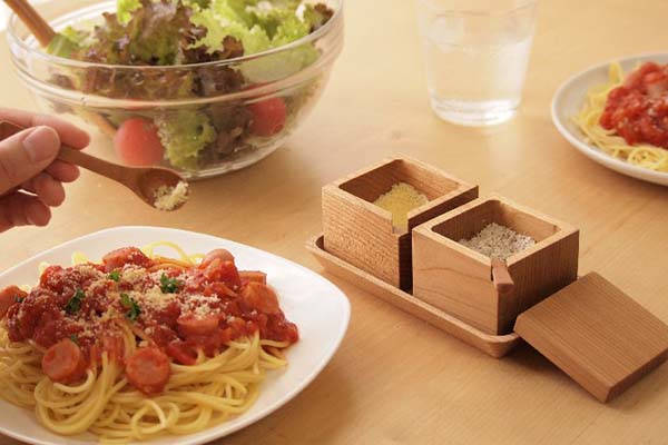 Handmade Wooden Spice Containers with Spoons and Tray