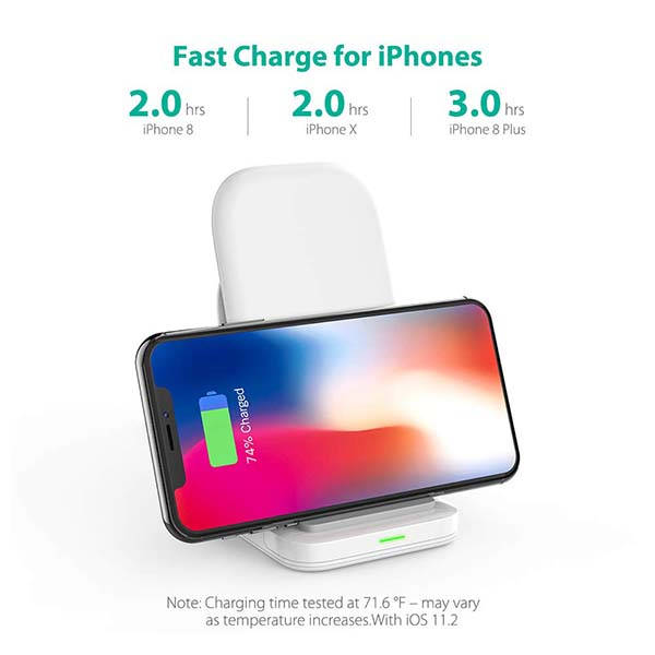 RavPower 2-Coil Wireless Charging Stand with QC3.0 USB Adapter