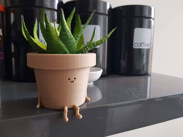 The Cute 3D Printed Plant Pot Character with Two Optional Postures