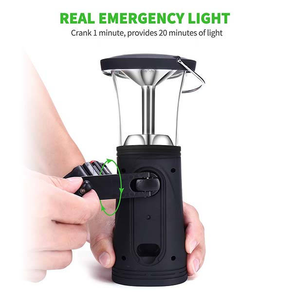 The Portable LED Camping Lantern with Solar Panel and Hand Crank