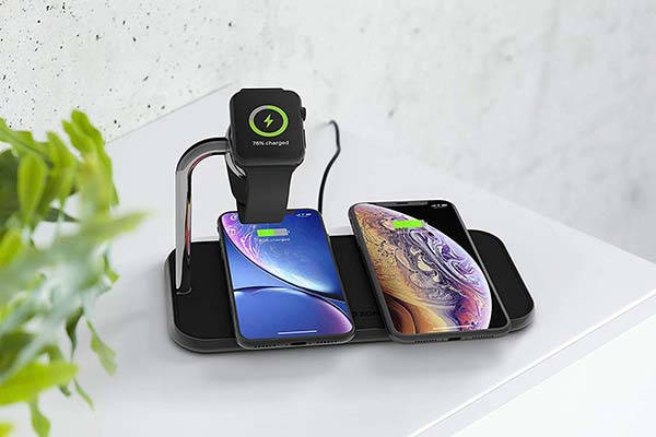 ZENS Dual 10W Aluminum Wireless Charging Pad with Apple Watch Charger
