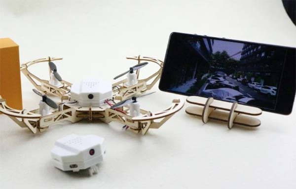 Aerowood Modular Wooden Drone with HD Camera