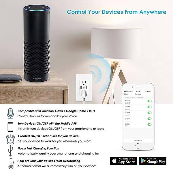 Dmyco WiFi Smart Wall Outlet Compatible Amazon Alexa, Google Assistant and IFTTT