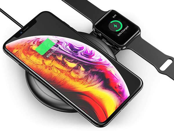 Floveme 2-In-1 Wireless Charging Pad with Retractable Apple Watch Charger