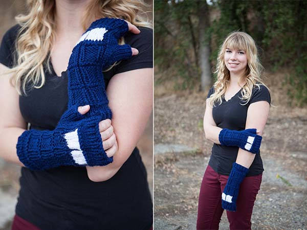 Handmade Doctor Who TARDIS Knitted Fingerless Mitts
