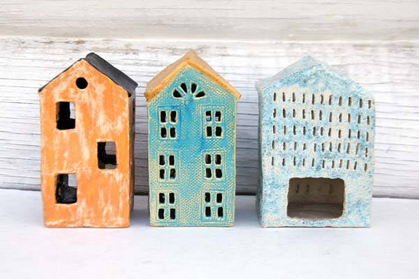 Handmade House Shaped Ceramic Tealight Holder