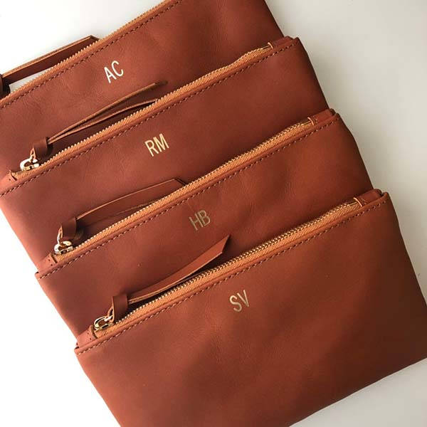 Handmade Personalized Leather Clutch with Monogram