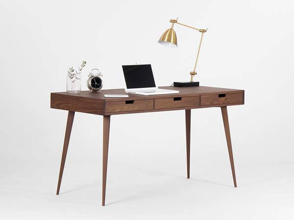 Handmade Walnut Office Desk with Drawers and Hidden Compartments