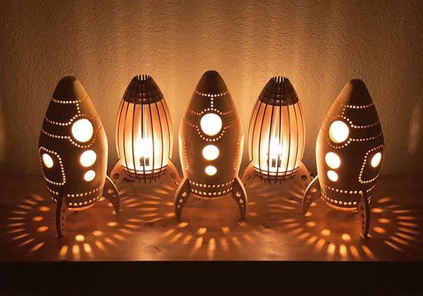 Handmade Wooden Rocket LED Night Light