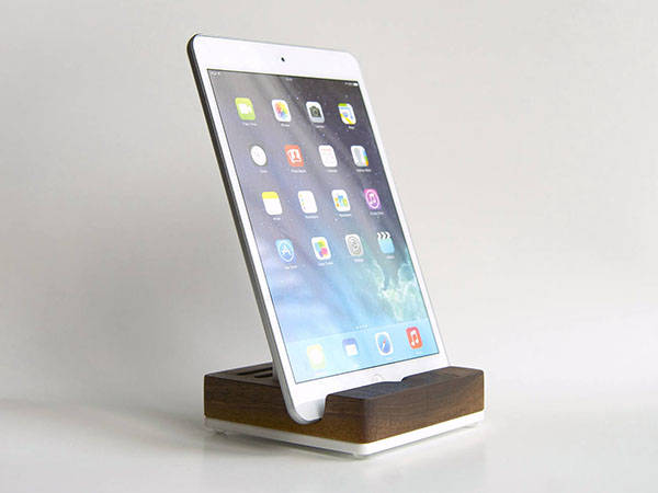 Handmade Wooden Tablet Stand with White Acrylic Insert
