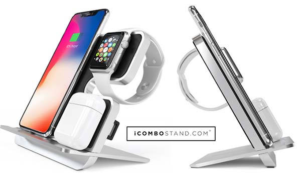 iComboStand Qi Wireless Charging Station for iPhone, Apple Watch and AirPods