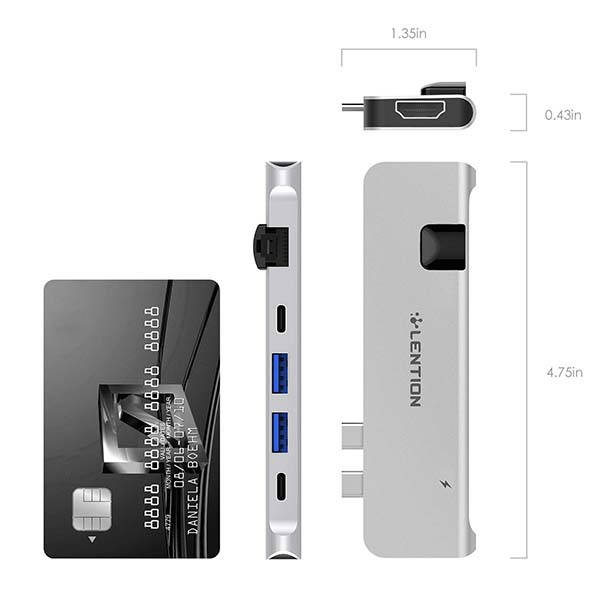 Lention Portable Aluminum USB-C Hub for MacBook