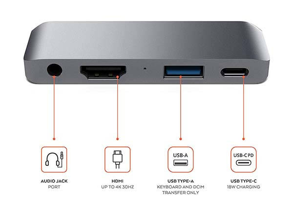 Satechi Aluminum USB-C Hub Compatible with iPad Pro, Surface Go and More