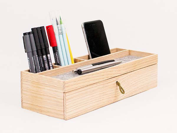 The Handmade Customizable Wooden Desk Organizer with Drawer