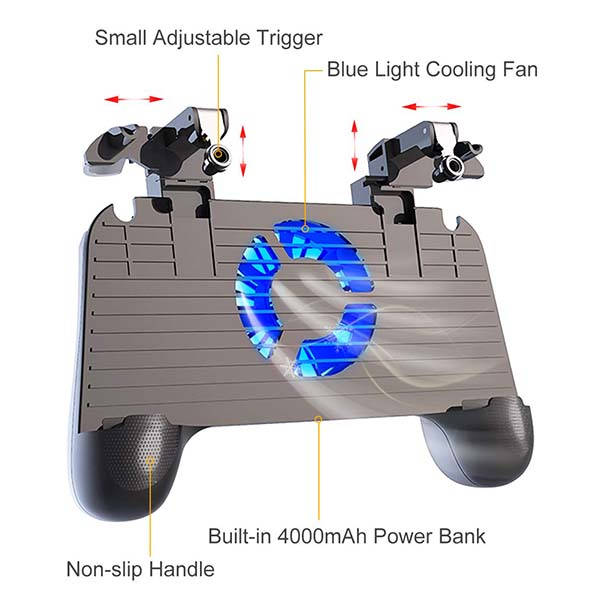 The Mobile Game Controller with Cooling Fan and Power Bank