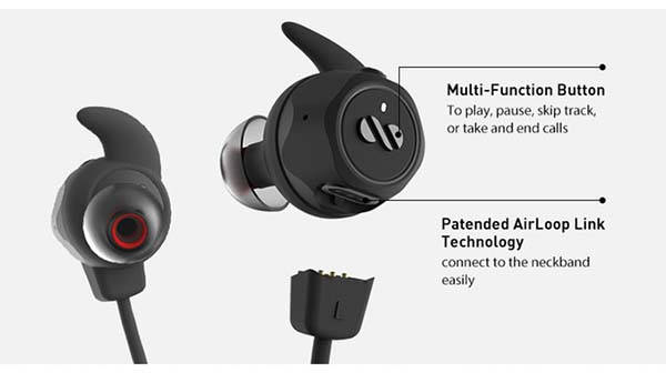 AirLoop 3-In-1 True Wireless Bluetooth Earbuds with Detachable Neckband
