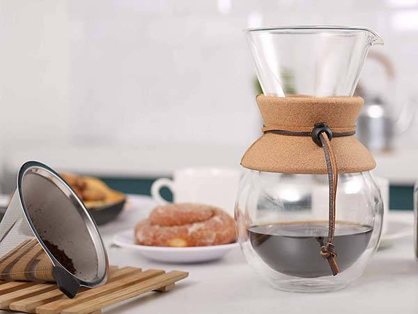Apace Double Wall Glass Pour Over Coffee Maker