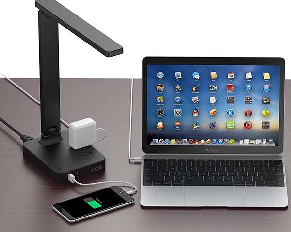 Cozoo LED Desk Lamp with 3 USB Ports and 2 AC Outlets
