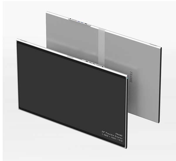 Foldable Flexible OLED Display Serves as Photo Frame, Tablet, Laptop or Desktop Computer