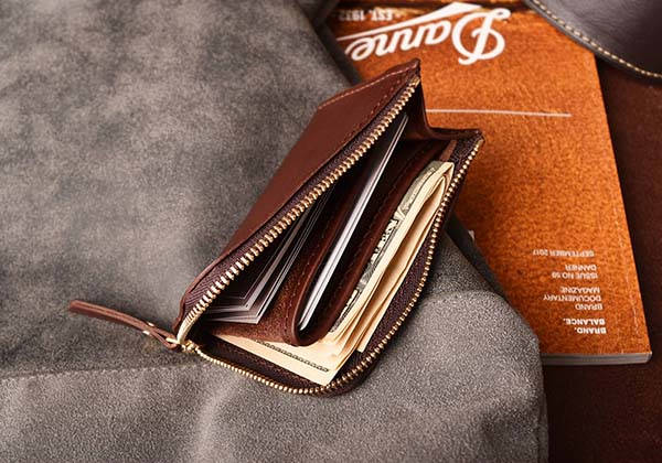 Handmade Customizable Leather Zipper Wallet