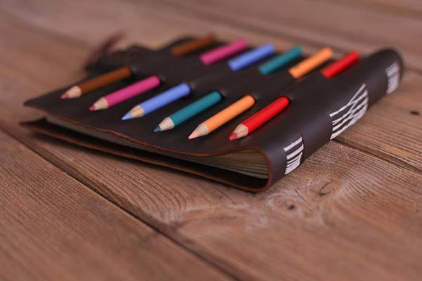 Handmade Leather Sketchbook with Pencil Holder